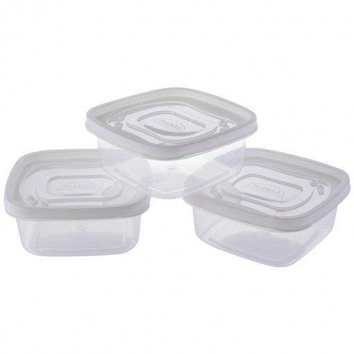 Conjunto 3 Potes Plasticos Clic Quadrado 580 ML Plasutil