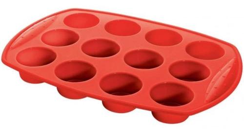 Forma Silicone 12 Muffins Vermelha 30X20X5CM SLC130-12VM - Hercules