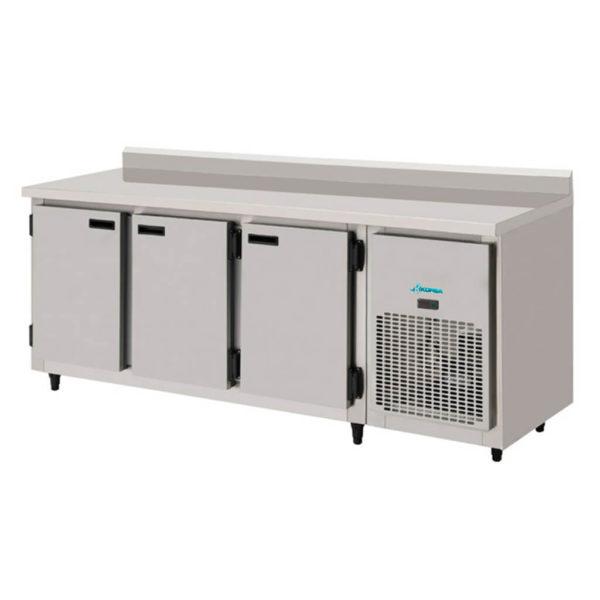 KBSC-200 Balcao de Encosto Refrigerado Inox Escovado Digital 3 Portas Interno Galvanizado Kofisa