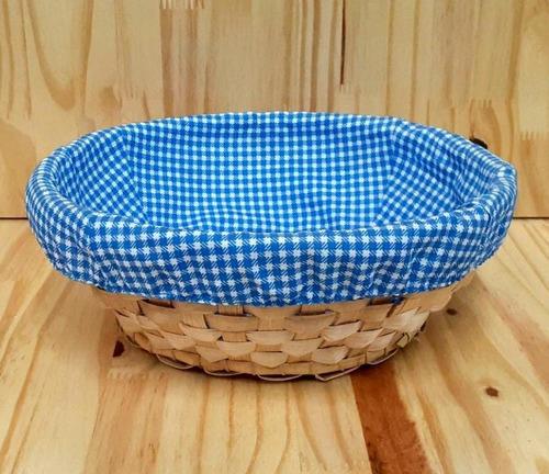 Kit 2 Bandejas Cestos Redondos De Bambu Com Tecido 25x9 Cm
