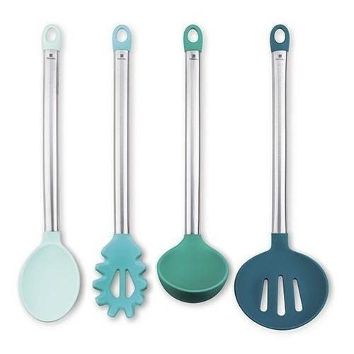 Kit C/  Utensilios Cozinha Silicone Inox Colher Concha Verde Hercules