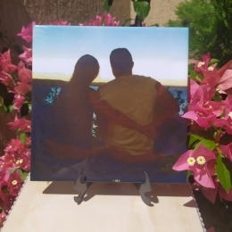 Azulejo 20x20cm Personalizado com sua Foto com Suporte de Plástico