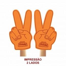 Mão de Torcida Personalizada - Mão 2 dedos impressão 2 lados