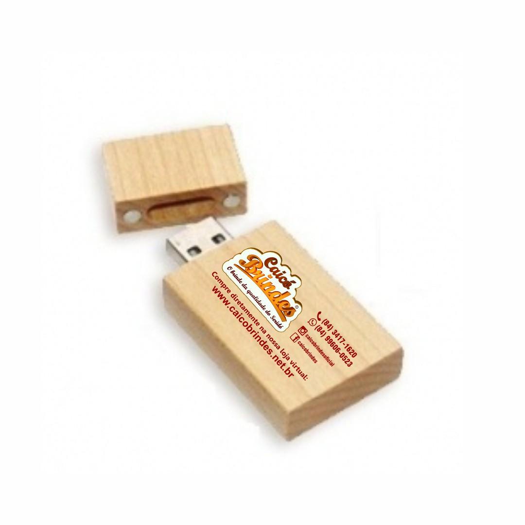 Pen Drive Ecológico Quadrado de Madeira Personalizado