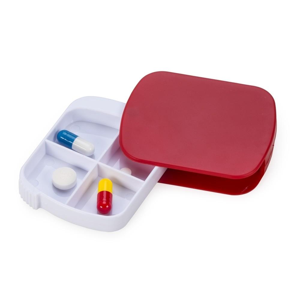 Porta Comprimido Plástico Retangular com 4 Divisórias