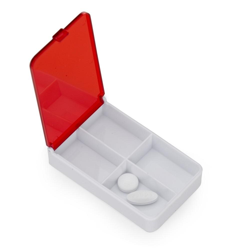 Porta Comprimido Plástico Retangular Vermelho com Branco