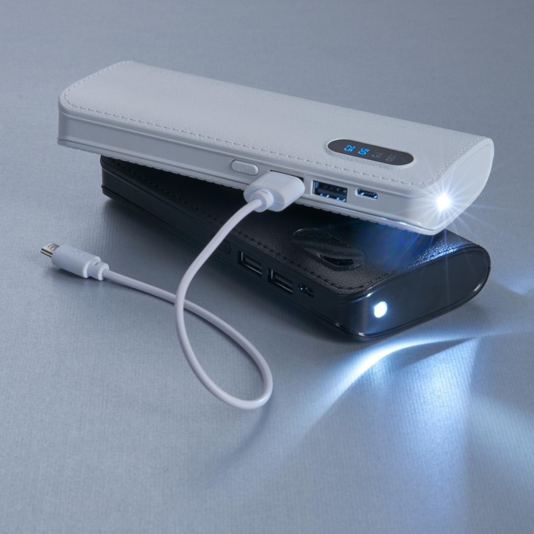 Power Bank Plástico com Indicador Digital e Lanterna