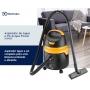 Aspirador de Pó e Água Electrolux Acqua Power 10 Litros Conjunto de Acessórios rodas 360° 1250W Preto Amarelo 127v AQP20