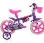 Bicicleta Infantil Cairu Aro 12 com Rodinha e Cesta Violeta e Rosa