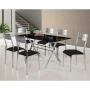 Conjunto Sala de Jantar Mesa Londres Tampo de Vidro e 6 Cadeiras  147x80