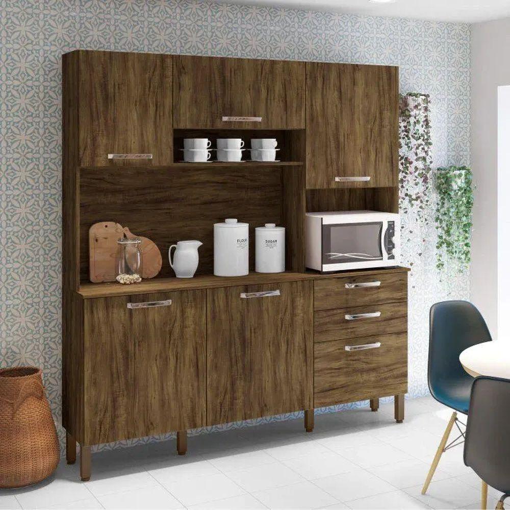 Armário de Cozinha 5 Portas Ferrara Kits Paraná Savana/Savana