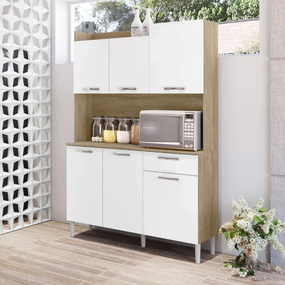Armário de Cozinha 6 Portas 1 Gaveta Kit Gênova Kits Paraná Nogal/White
