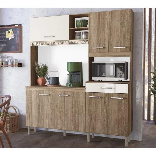 Kit Armário de Cozinha Nicioli Yara 160 Carvalho Rust/Off White