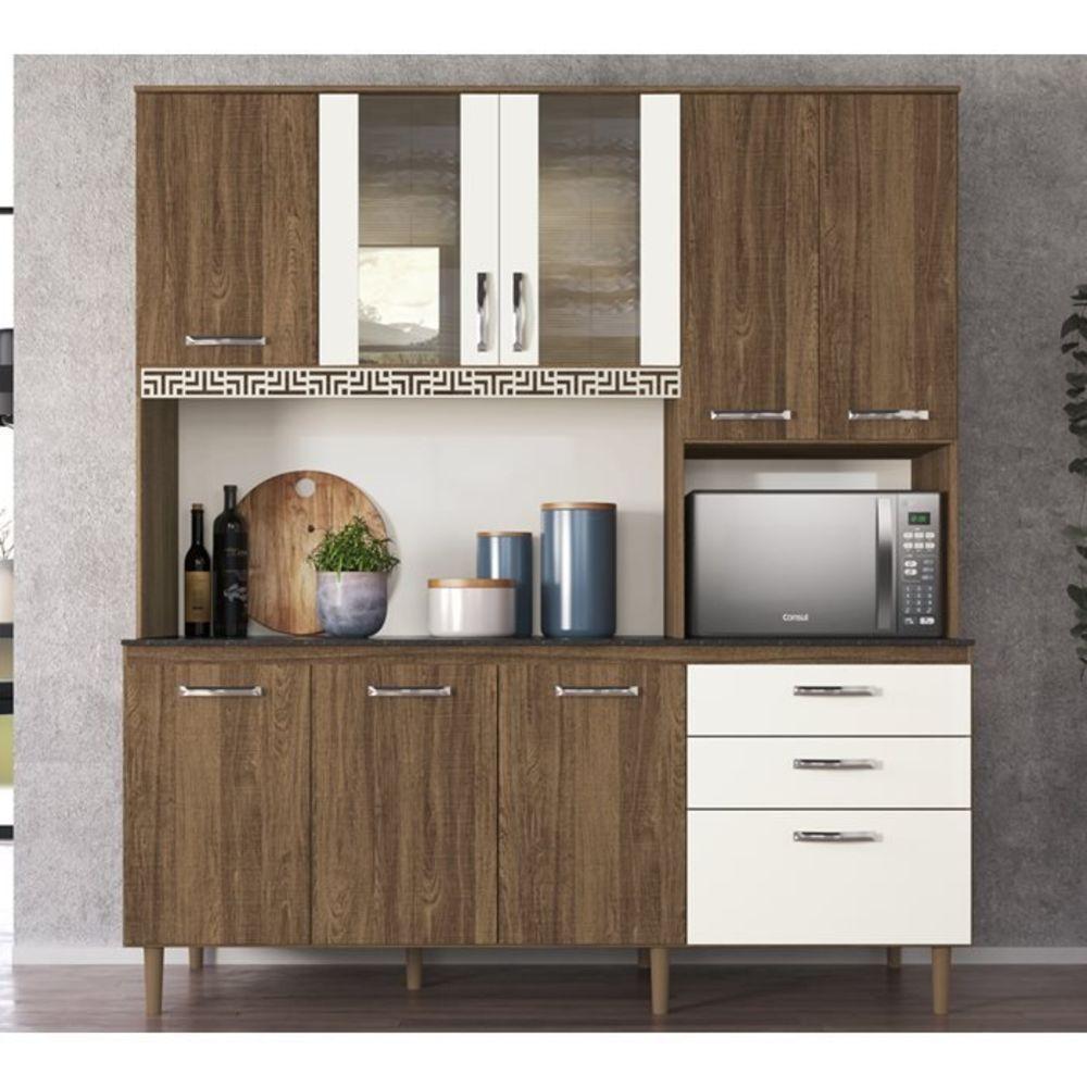 Armário de Cozinha Fit 8 Portas 180 CM Evora Rust Off White