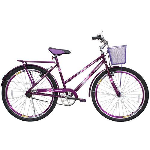 Bicicleta de Passeio Cairu Aro 24 Genova com Cesta e Garupa Lilás