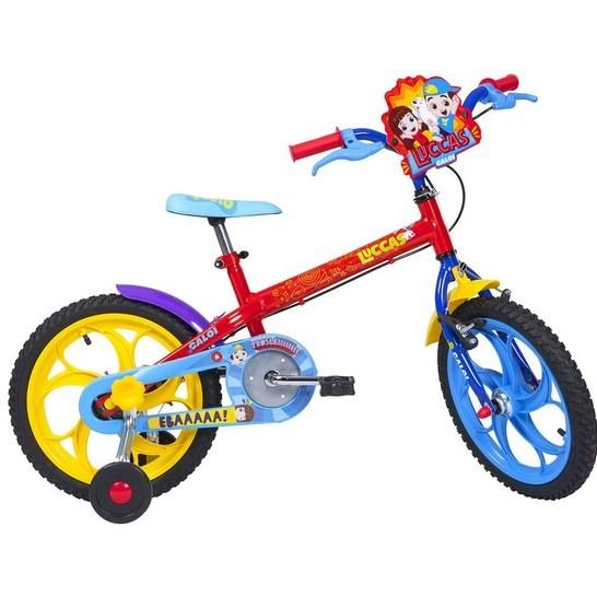 Bicicleta Infantil Caloi Aro 16 Lucas Neto com Rodinha Vermelha