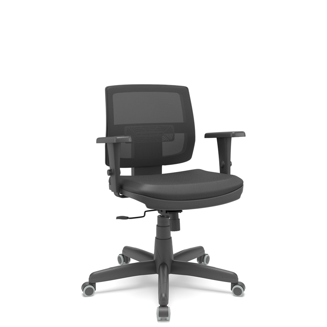 Cadeira Brizza Executiva base standard braço 3D preta Plaxmetal