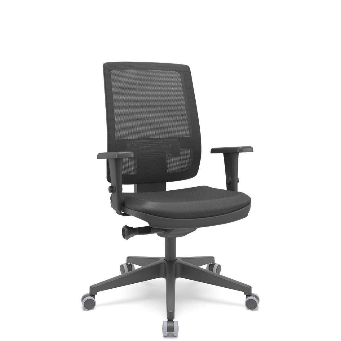 Cadeira Brizza Presidente Sem Apoio de cabeça base piramidal braço 3D Plaxmetal