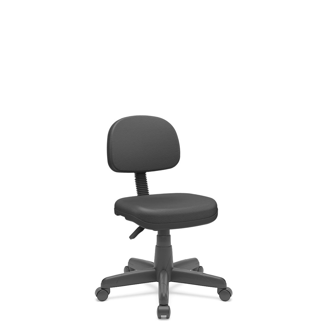 Cadeira Secretária Giratória Em couro ecológico Com Base Preta Plaxmetal - Preto