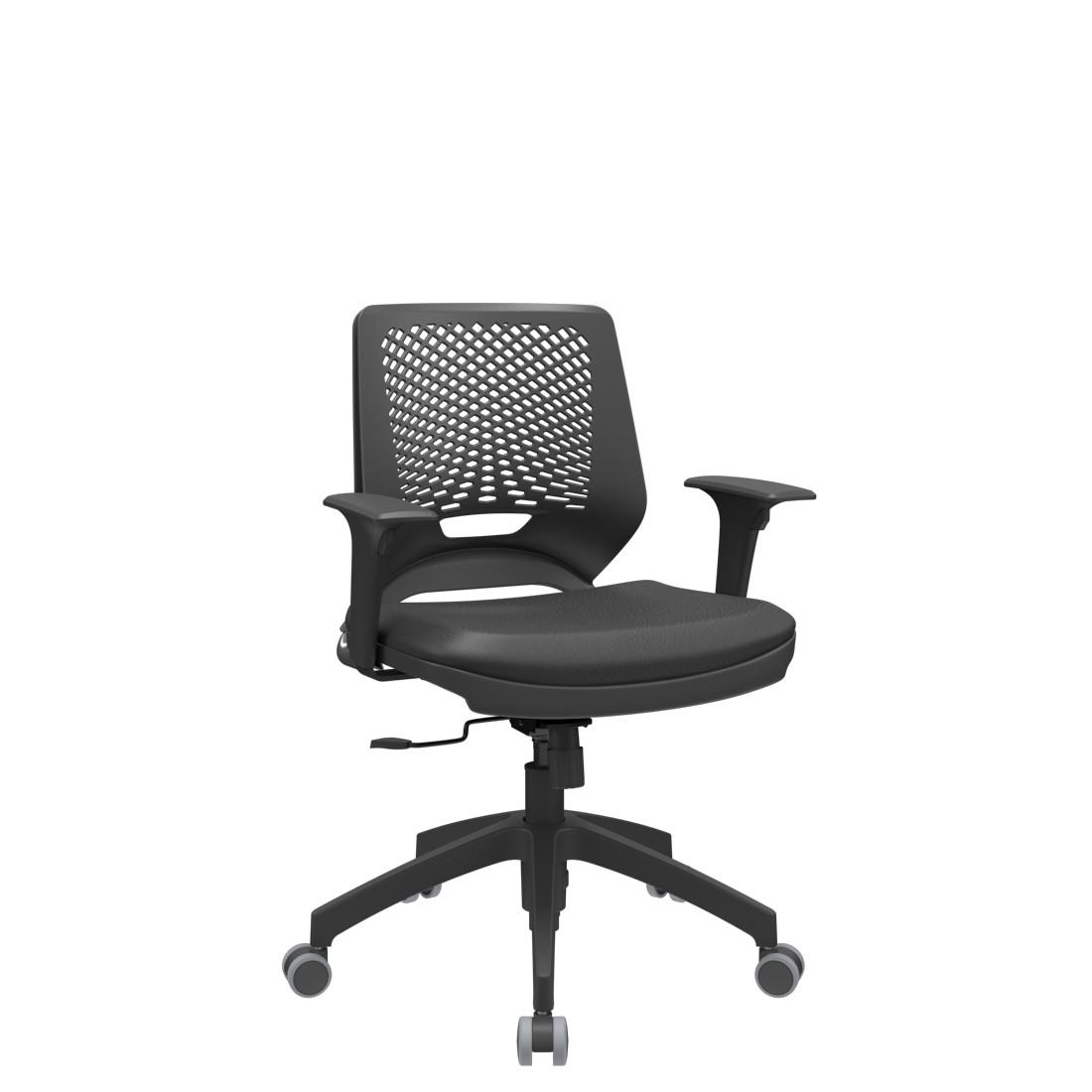 Cadeira Giratória Beezi estrutura preta base piramidal com braço regulável Plaxmetal