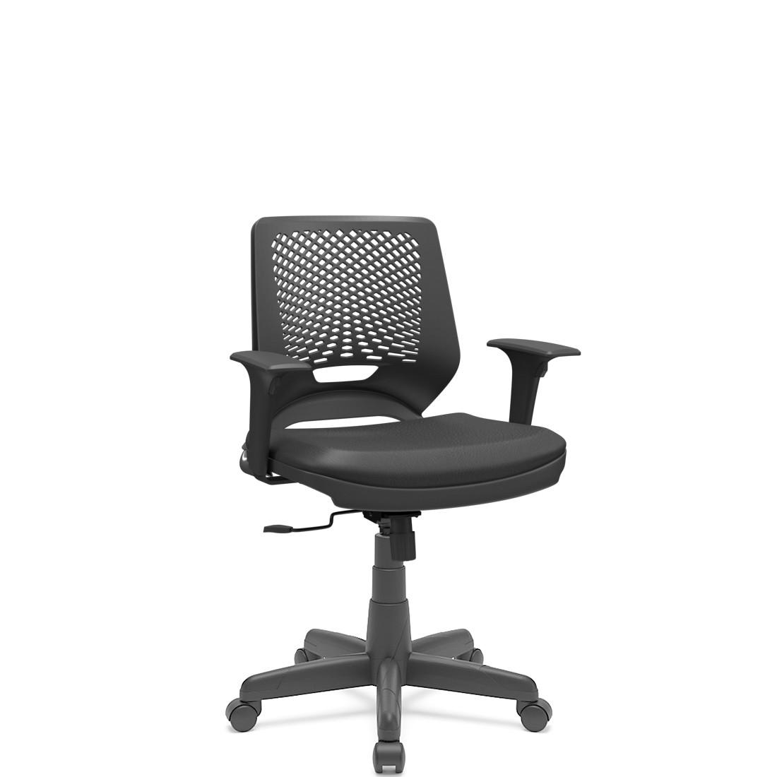 Cadeira Giratória Beezi estrutura preta base Standard com braço regulável Plaxmetal