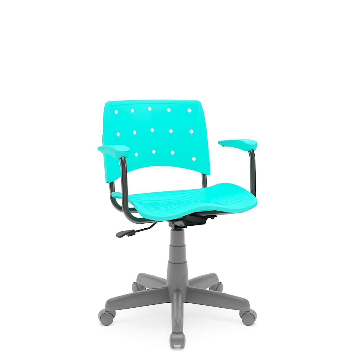 Cadeira Giratória Ergoplax Estrutura Cinza com braço Acqua Marine Plaxmetal