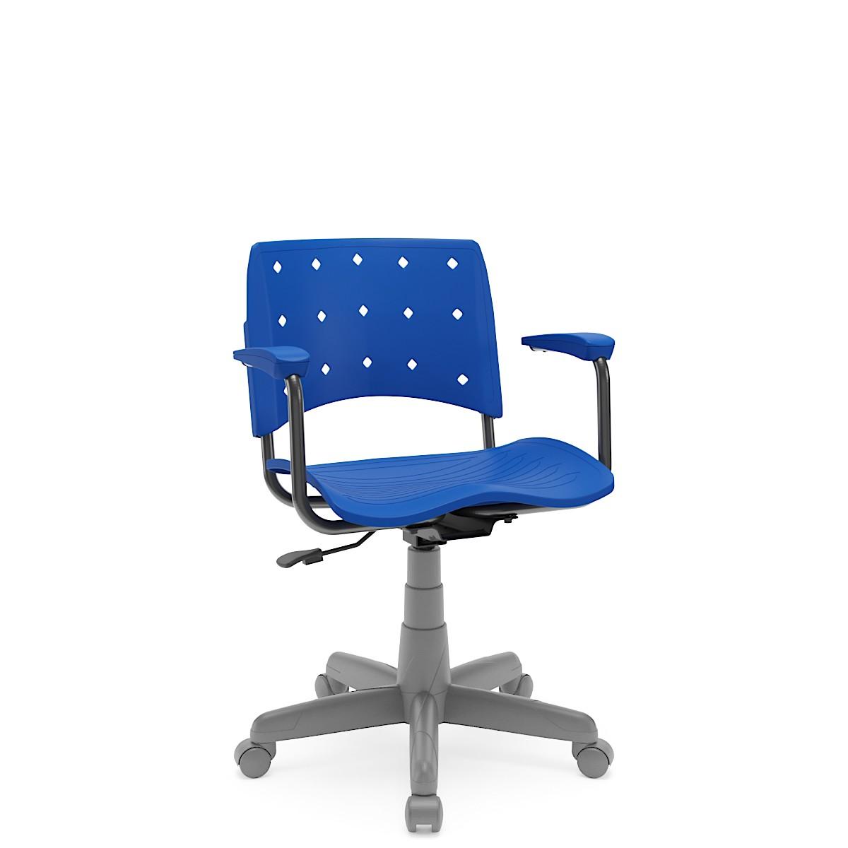 Cadeira Giratória Ergoplax Estrutura Cinza com braço Azul Plaxmetal