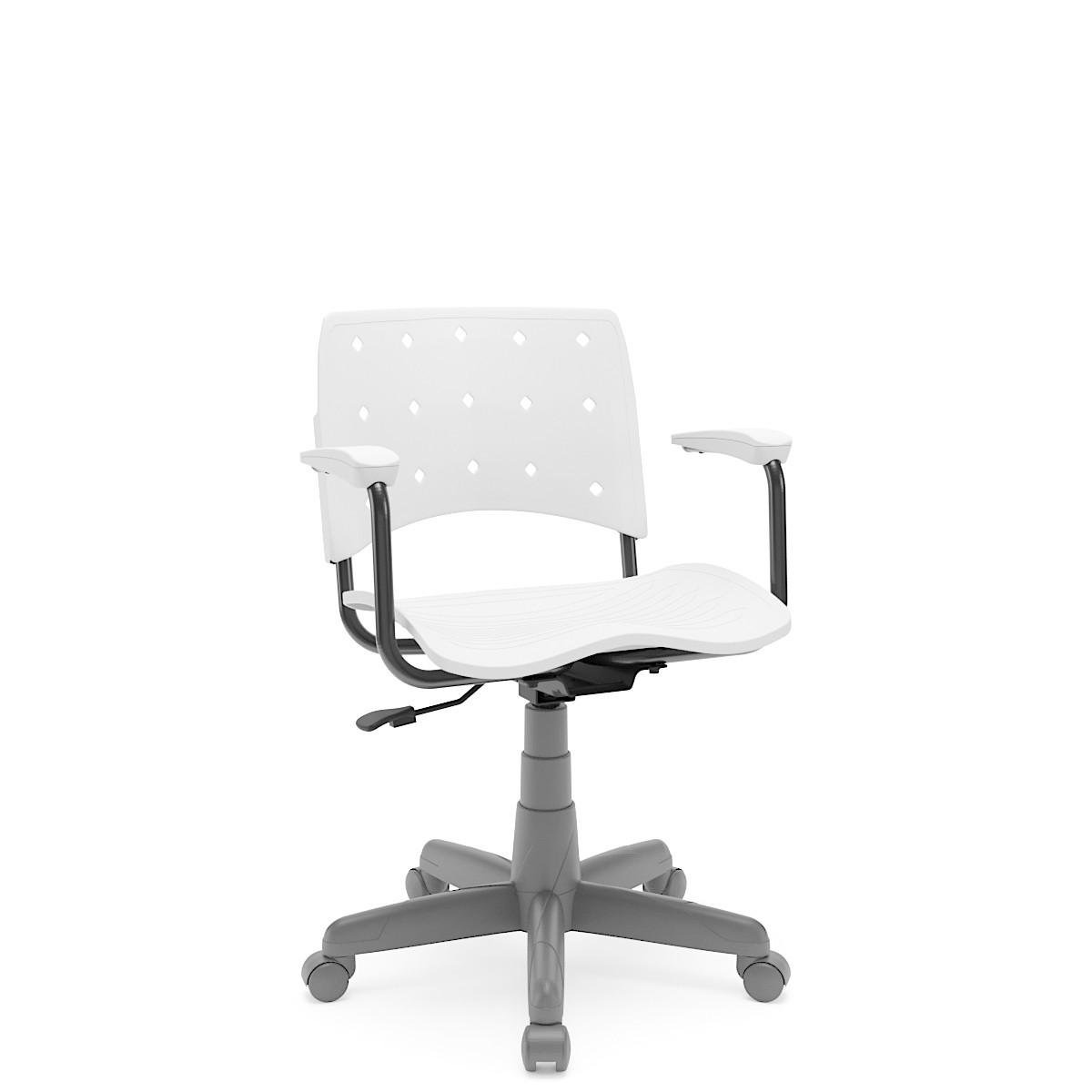 Cadeira Giratória Ergoplax Estrutura Cinza com braço Branco Plaxmetal