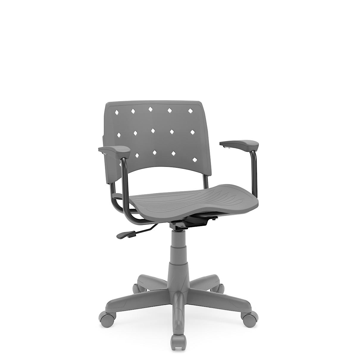Cadeira Giratória Ergoplax Estrutura Cinza com braço Cinza Plaxmetal