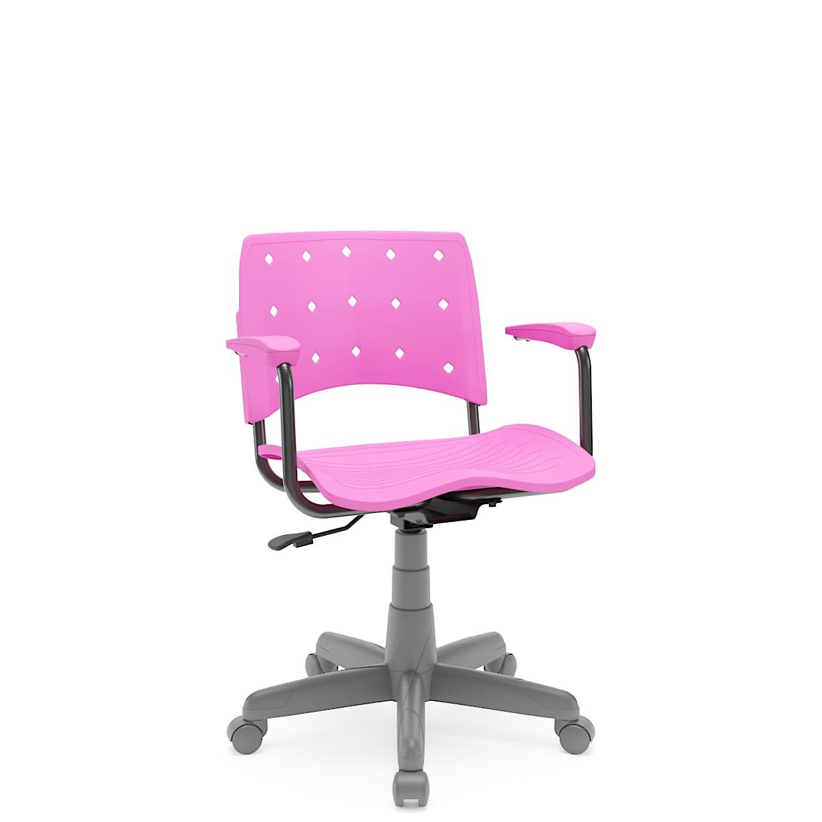 Cadeira Giratória Ergoplax Estrutura cinza com braço Rosa Plaxmetal