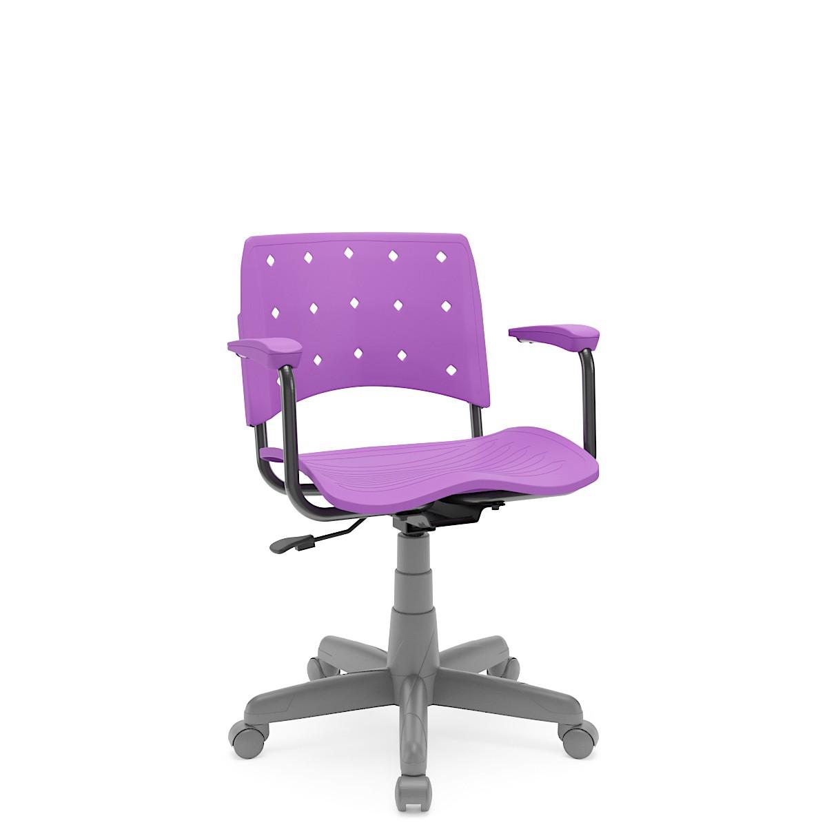 Cadeira Giratória Ergoplax Etrutura cinza com braço Violeta Plaxmetal