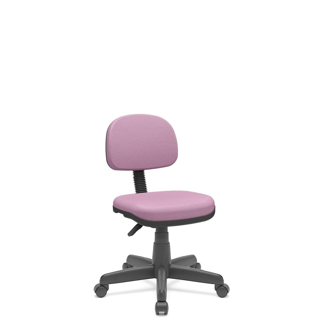 Cadeira Secretária Giratória Em couro ecológico Com Base Preta Plaxmetal - Lilas