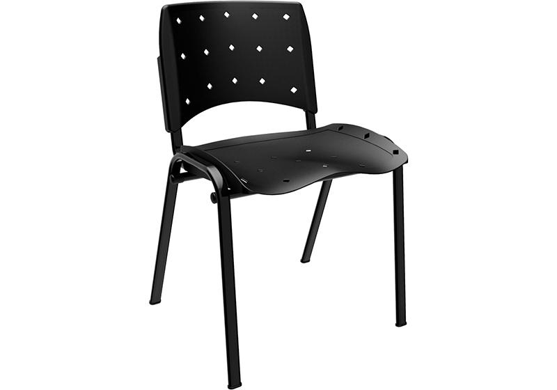 Cadeira plaxmetal Ergoplax fixa empilhável Preto