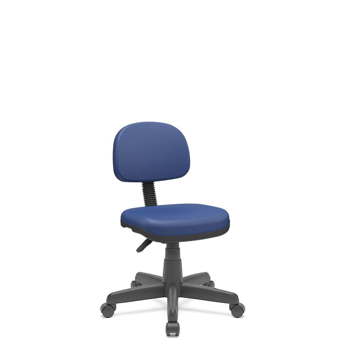 Cadeira Secretária Giratória Em couro ecológico Com Base Preta Plaxmetal - Azul