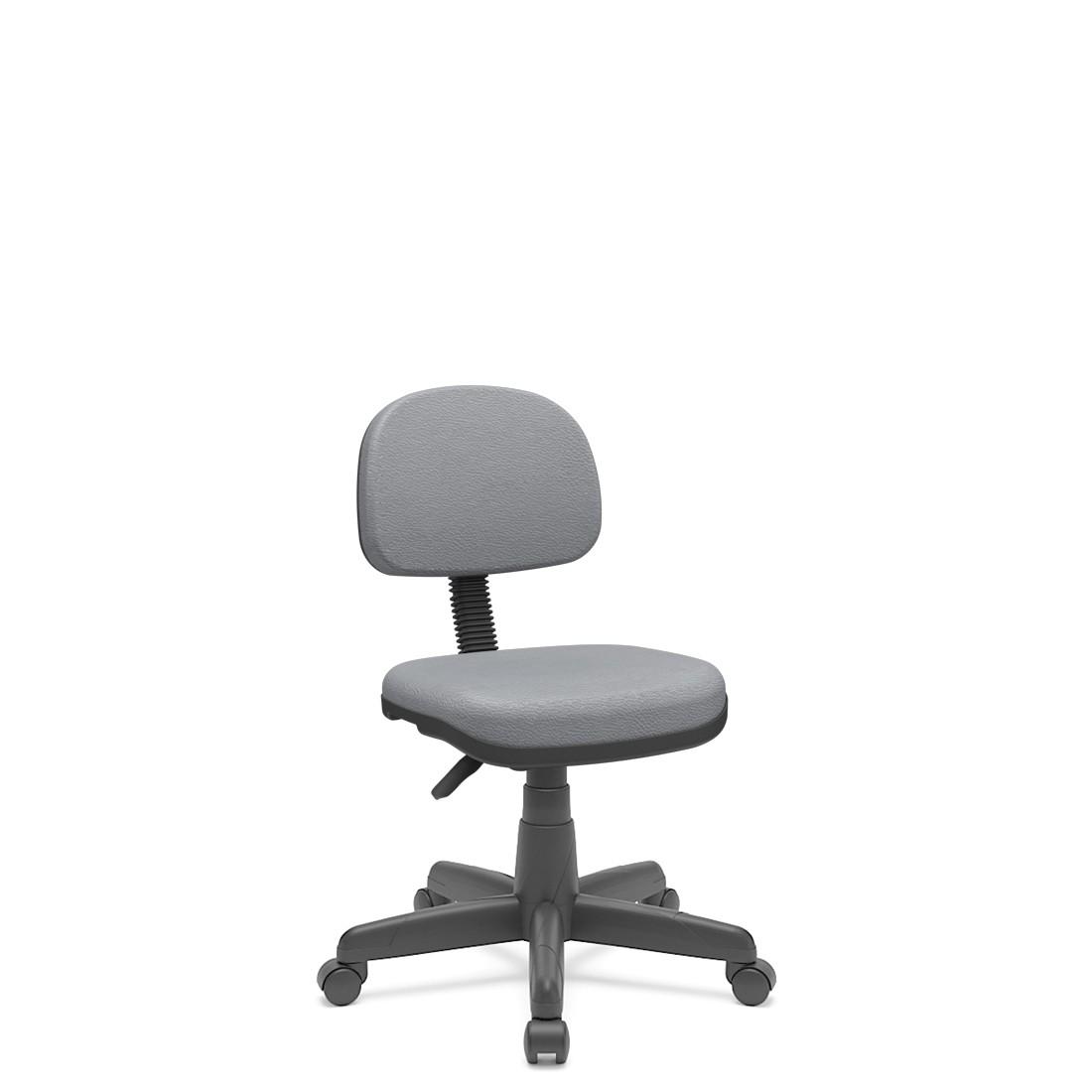 Cadeira Secretária Giratória Em couro ecológico Com Base Preta Plaxmetal - Cinza
