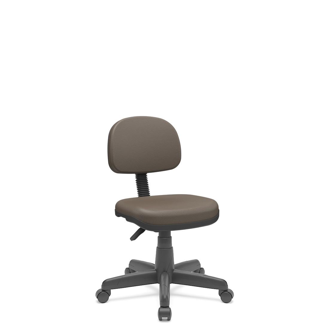 Cadeira Secretária Giratória Em couro ecológico Com Base Preta Plaxmetal - Marrom