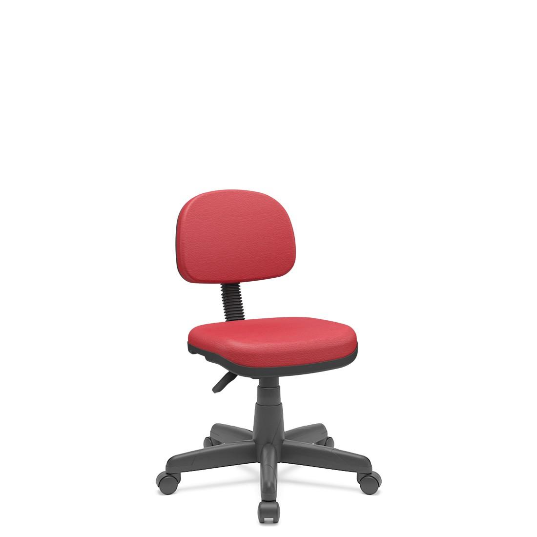 Cadeira Secretária Giratória Em couro ecológico Com Base Preta Plaxmetal - Vermelho