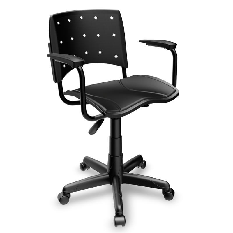 Cadeira Secretária Giratória Plaxmetal Ergoplax assento estofado com Braço preta