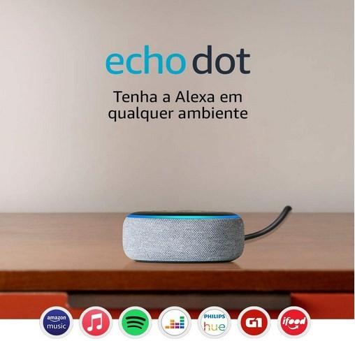 Caixa de Som Echo Dot (3ª Geração) Smart Speaker com Alexa Cor Cinza