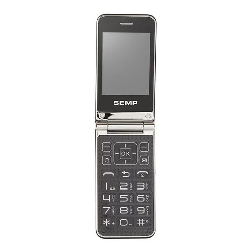 Celular Flip SEMP GO! 1m, Cinza Escuro, Câmera 1.3 MP, Bluetooth, Teclas grandes, Botões anatômicos