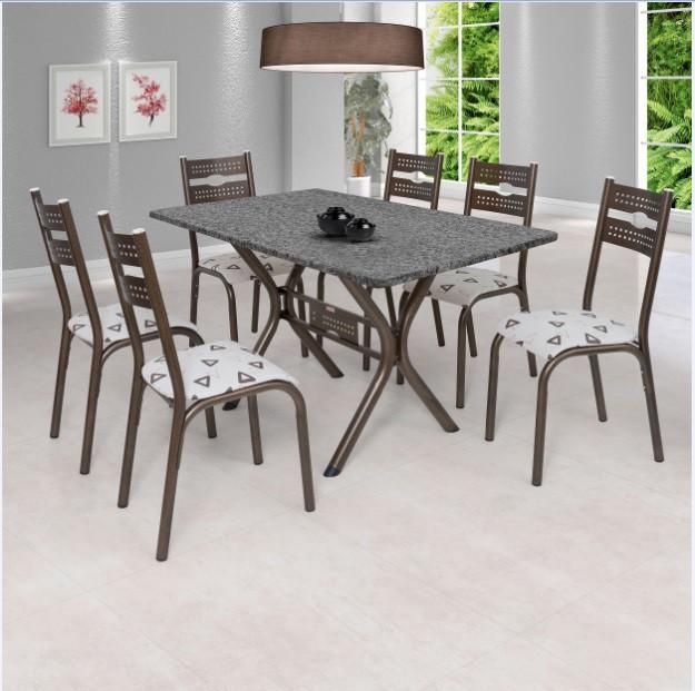 Conjunto Sala de Jantar Mesa Luna Ciplafe 1.7/8 TP Gran 140m 6CD BRZ/BG