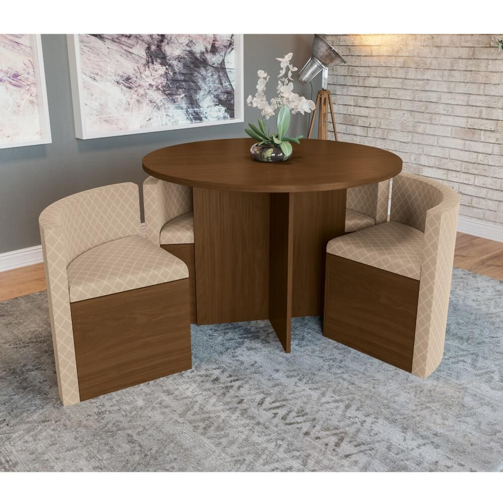 Mesa de Jantar Nira c/ 4 Cadeiras Kappesberg - Walnut/Bege