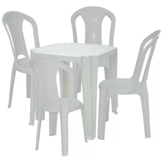 Conjunto 04 Cadeiras Torres e 01 mesa Tambaú Tramontina Plástica Branca