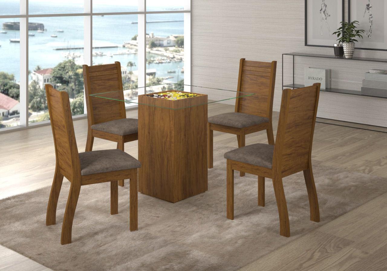 Conjunto de Mesa com 4 Cadeiras - Viero Móveis Napoli Imbuia Cromo