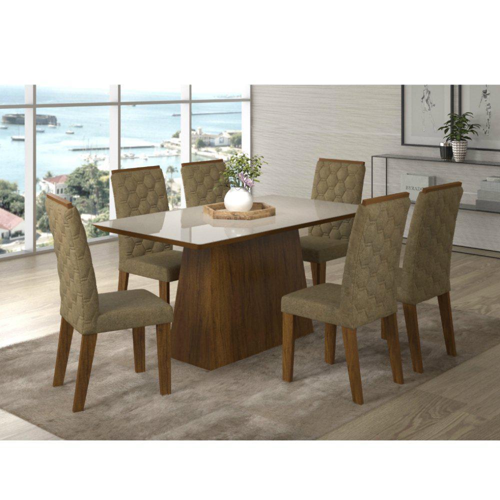 Conjunto de Mesa com 6 Cadeiras Estofadas Selena Havana Imbuia Viero