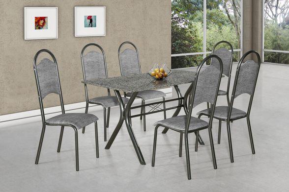 Conjunto de Mesa Londres 6 Cadeiras Master Aço Nobre Móveis Cinza/Prata