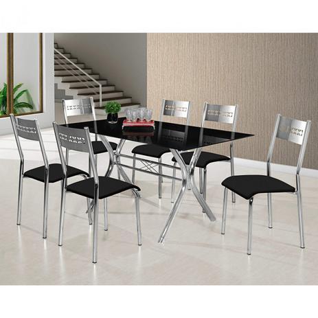 Conjunto de Mesa Londres Tampo de Vidro e 6 Cadeiras  147x80