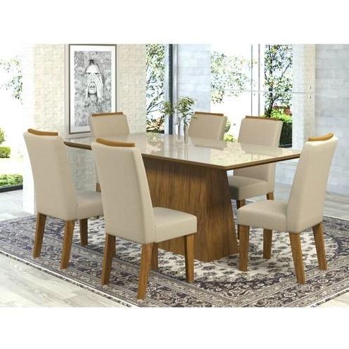 Conjunto de Mesa Viero Delicata 6 Cadeiras Imbuia/Off White
