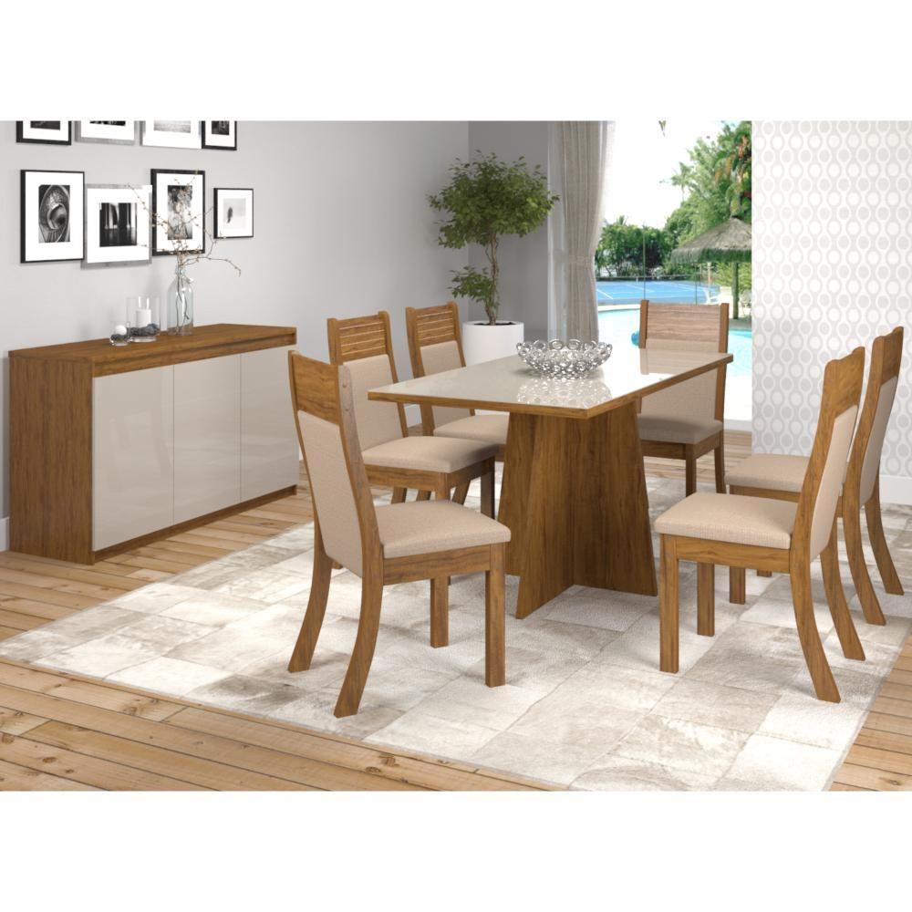 Conjunto Sala de Jantar Granada c/ 6 Cadeiras Roma Imbuia Duna OffWhite Viero Móveis
