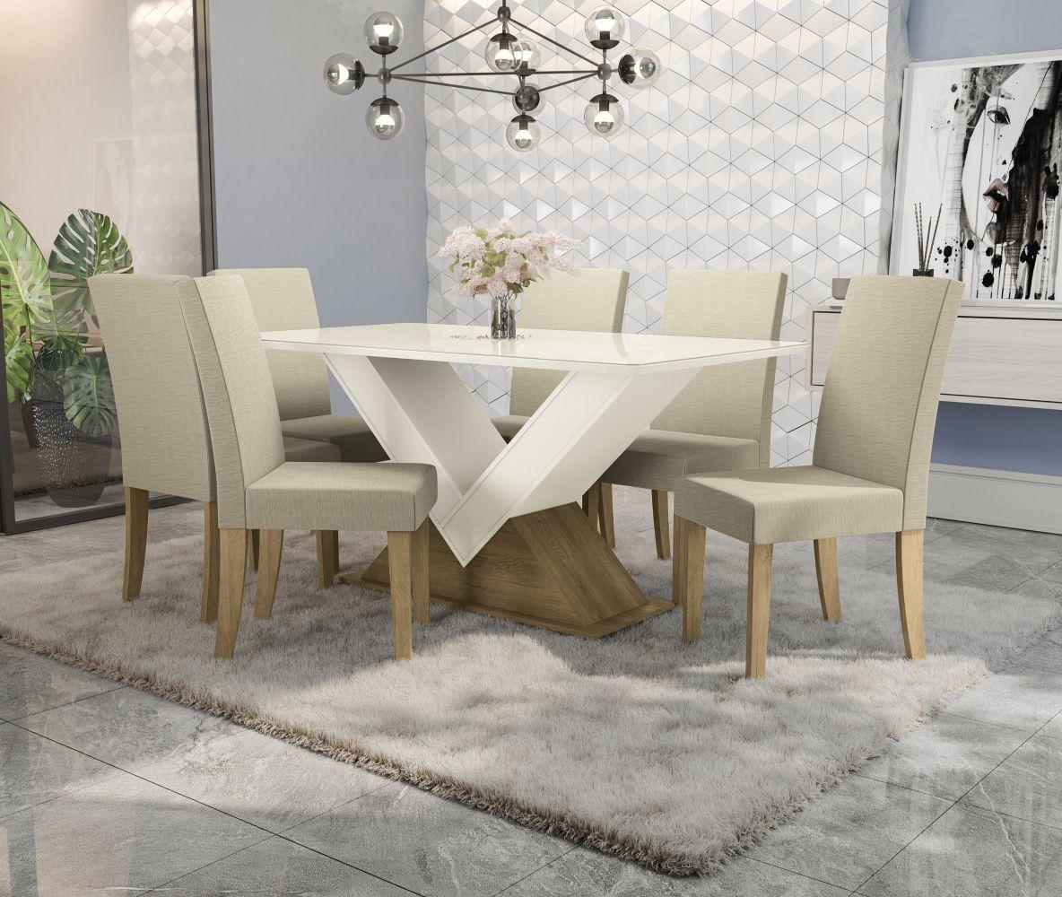 Conjunto Sala De Jantar Mesa 6 Cadeiras Kappesberg Amora Freijó